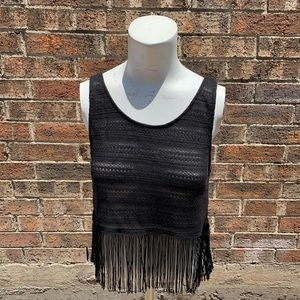 Black crop top with fringe